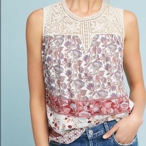 Anthropologie Maeve Laced Eleanor Blouse crochet